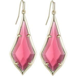 New Kendra Scott Olivia Earrings Berry Glass Gold
